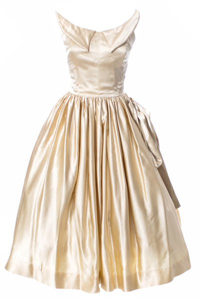 1950s Vintage Wedding Dress in Champagne Satin w Bolero Jacket - Dressing Vintage