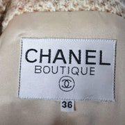 F/W 1988 Chanel Boutique Vintage Skirt Suit Boucle Wool Fringe Size 36 - Dressing Vintage
