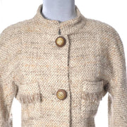 Vintage Chanel 1980's tan boucle wool skirt suit