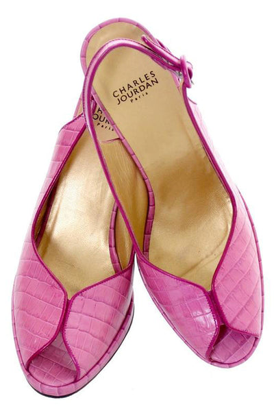 Charles Jourdan Shoes Purple Pink Alligator Embossed Leather Peep Toe 9 - Dressing Vintage