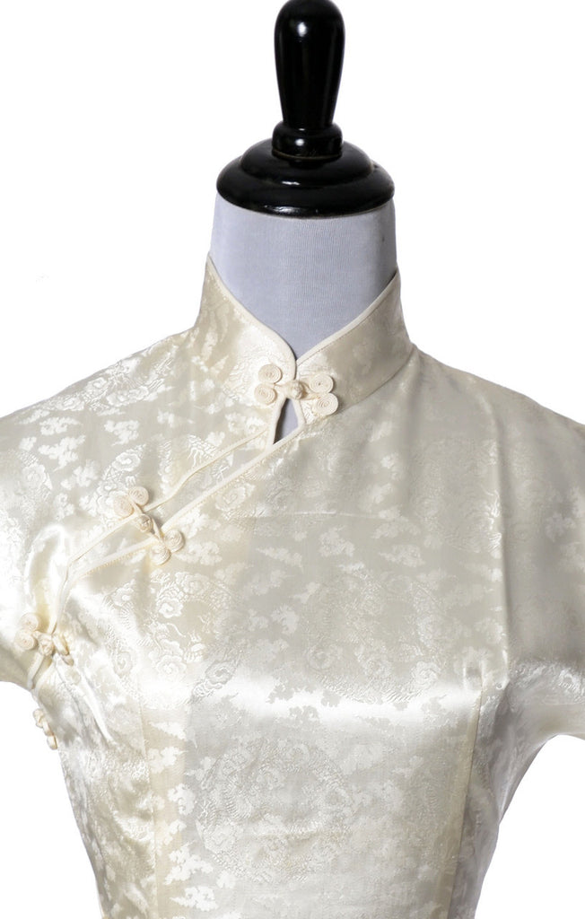 Cheongsam vintage dress Ivory silk with coat - Dressing Vintage
