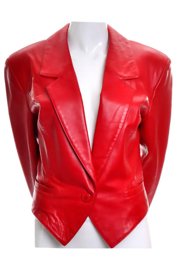 Red leather tuxedo jacket 1980's Michael Hoban