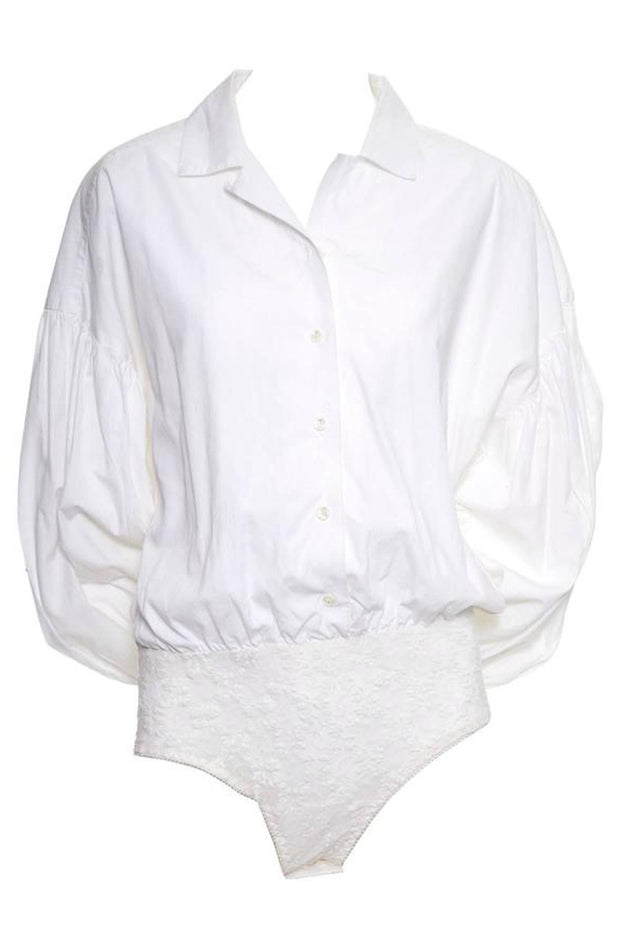 Christian Dior white cotton blouse bodysuit 1980's