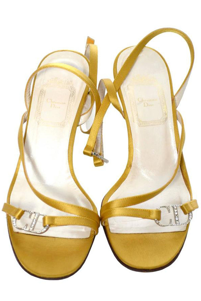 Christian Dior gold strappy sandal heels with rhinestone logo