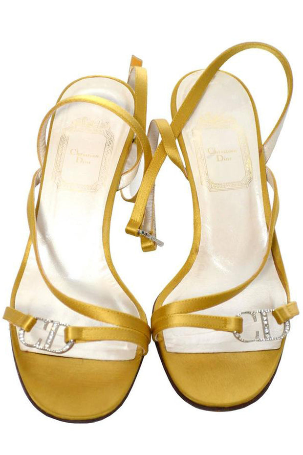 34d17083b65 Gold Vintage Christian Dior Shoes Strappy Sandals Rhinestones Size 6 ...