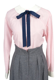 Vintage late 1960s Christian Dior pink blouse with tie SOLD - Dressing Vintage