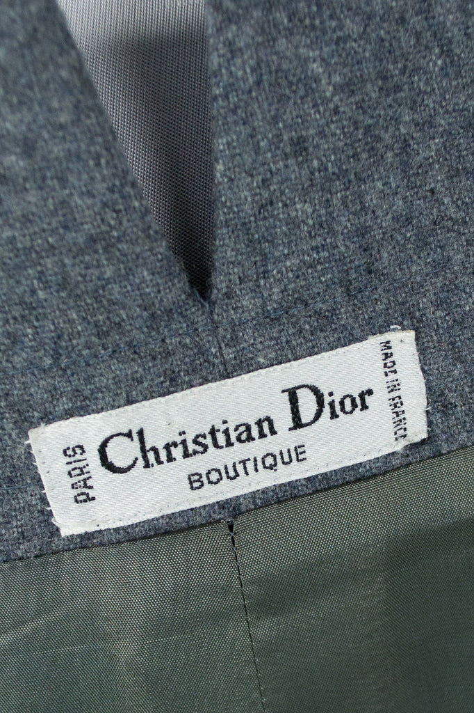 Vintage Christian Dior gray wool skirt with paper bag waist mint