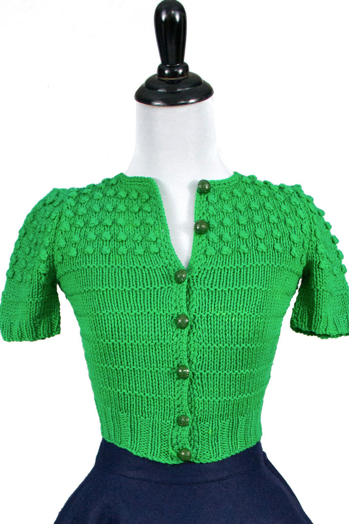 Vintage little girl's green knit sweater 1950s SOLD - Dressing Vintage