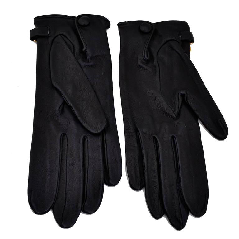 Claude Montana black leather 1980's vintage gloves