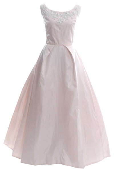 1960s Clifton Wilhite Dallas Pink Vintage Dress Beaded Ballgown - Dressing Vintage