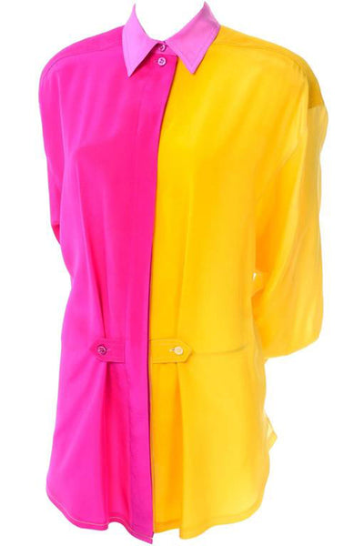 1980s Escada Silk Yellow & Pink Color Block Blouse w/ Ombre Back