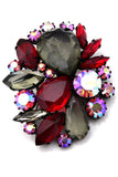 Open Back Vintage Brooch Red and Topaz Glass Stones Aurora Borealis