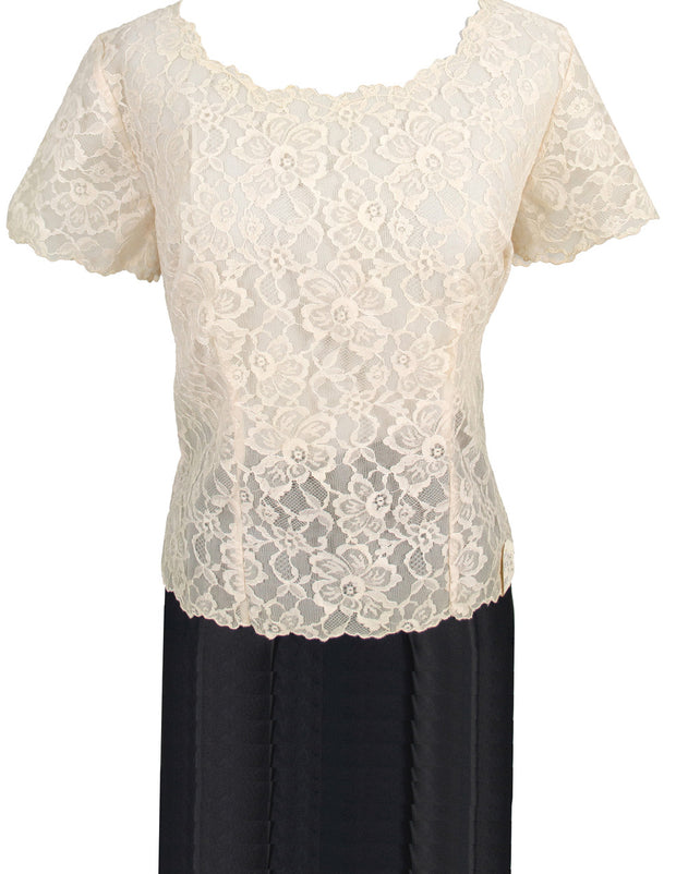 New Early 60s vintage lace blouse de jour by Saab with original tag - Dressing Vintage