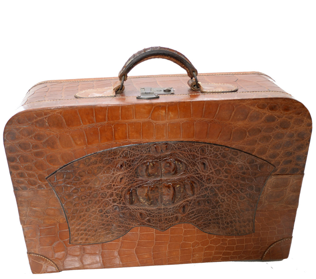 WWII vintage 1940s crocodile suitcase with lock and key