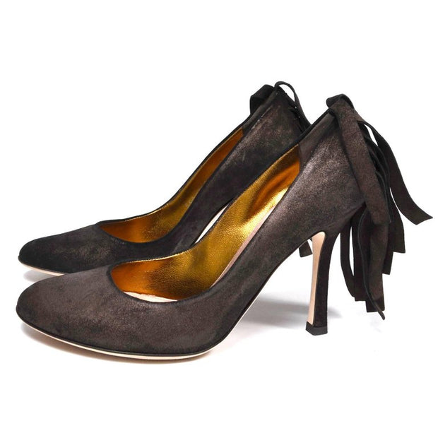 Dsquared2 Brown Suede Shoes w/ Wide Fringe on Heels Size 38.5