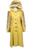 Dan Di Modes Yellow Vintage Leather Coat with Fur Trim and Hood