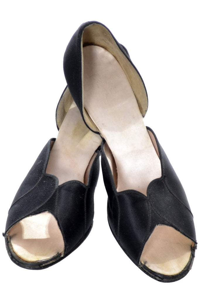 Black Satin Hostess Slippers