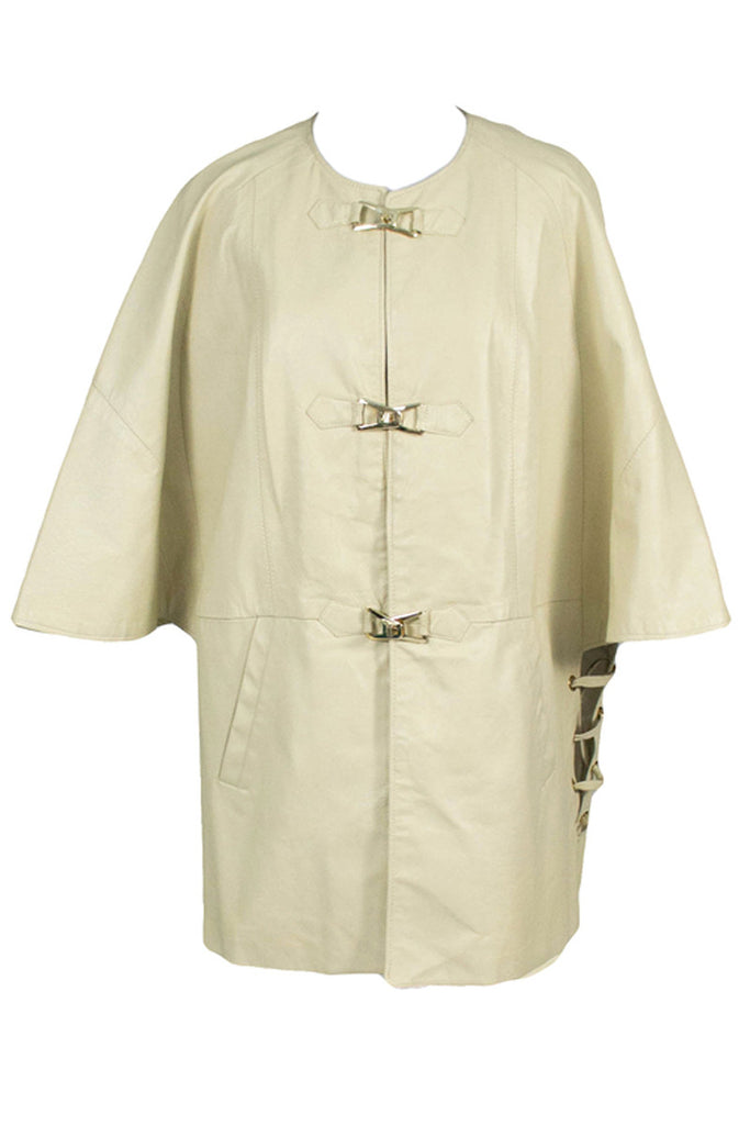Daniel Phillipe Vintage Cream Leather Coat