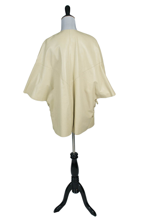 Daniel Phillipe Vintage Cream Leather Coat - Dressing Vintage