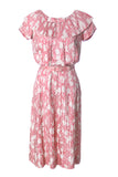 Red silk Asian theme print vintage dress David W Goodstein - Dressing Vintage
