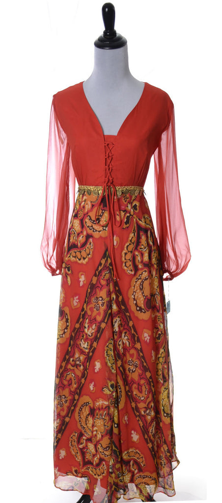 vintage maxi dress late 1960s early 1970's deadstock