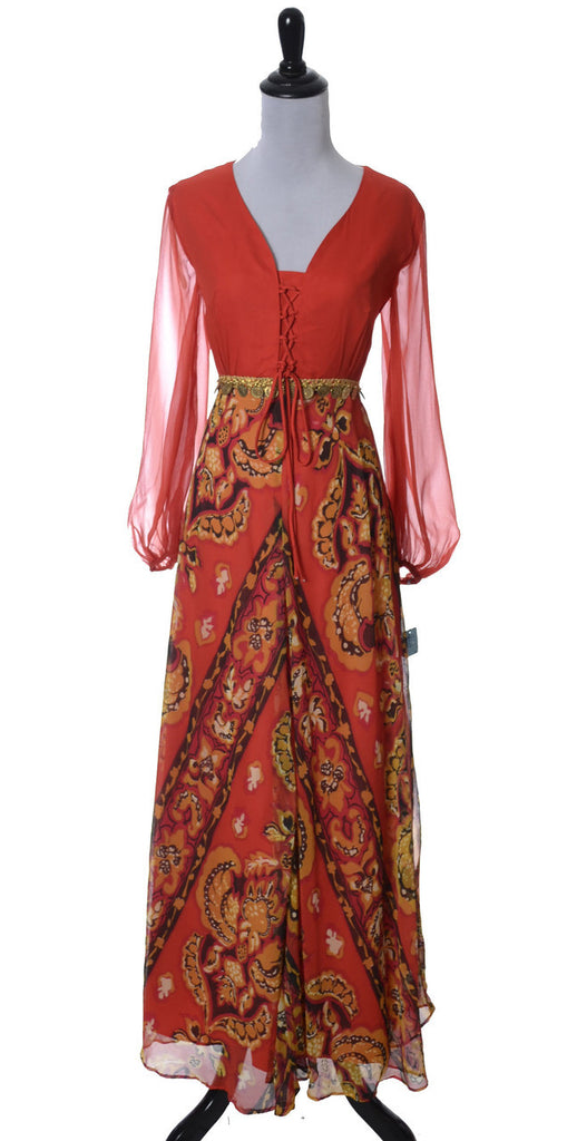 Deadstock vintage late 1960s early 1970s dress maxi