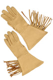 Vintage deerskin motorcycle gloves with leather fringe at Dressing Vintage