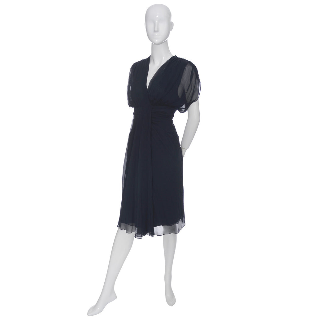 Diane Von Furstenberg Blue Silk Chiffon Dress