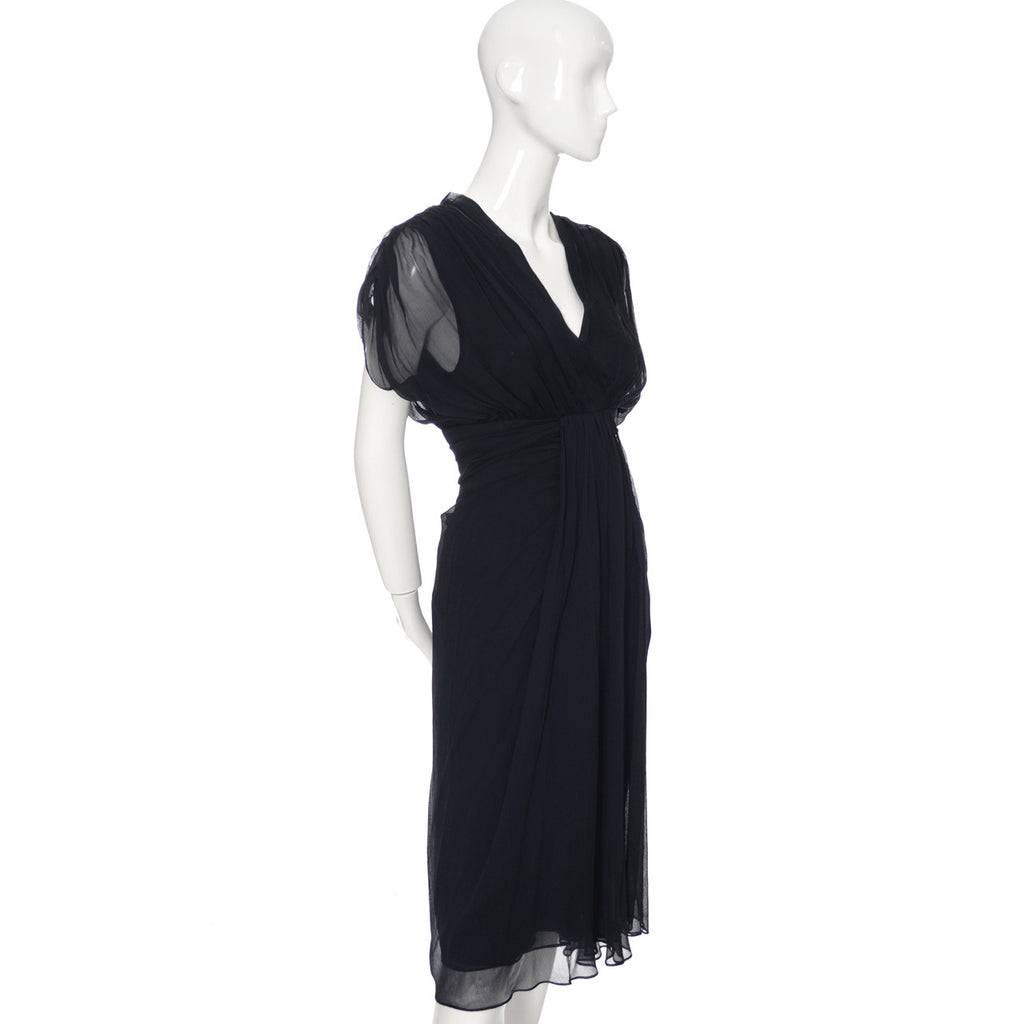 Diane Von Furstenberg Navy Silk Chiffon Dress