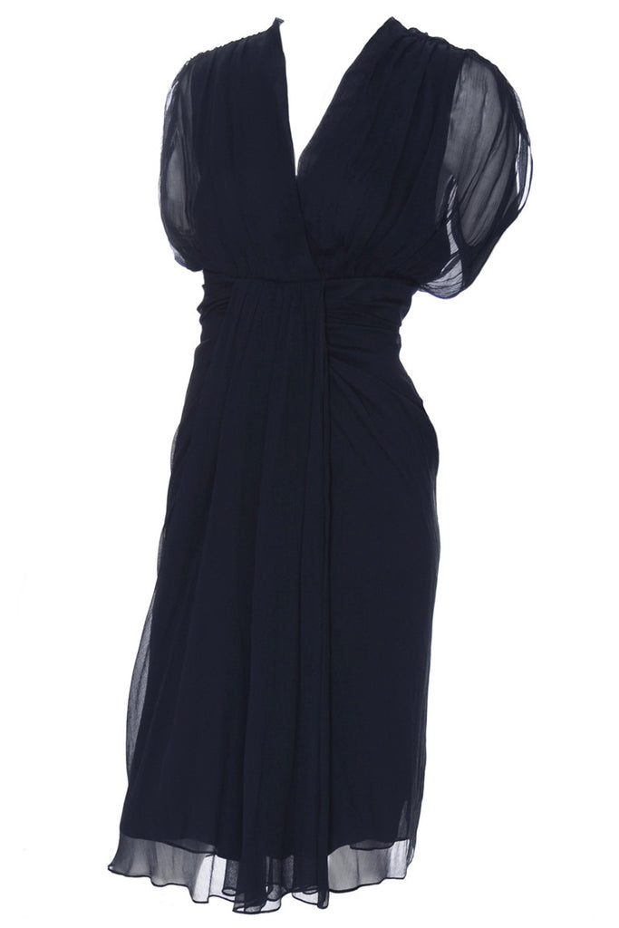New Dianne Von Furstenberg navy blue chiffon dress