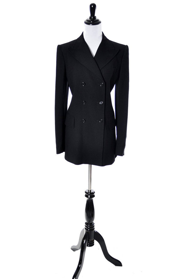 Dolce & Gabbana Black Wool Double Breasted Vintage Blazer