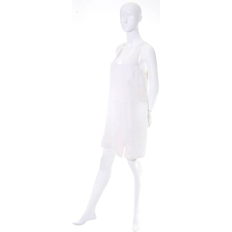 1990's Donna Karan ivory racer back shift dress