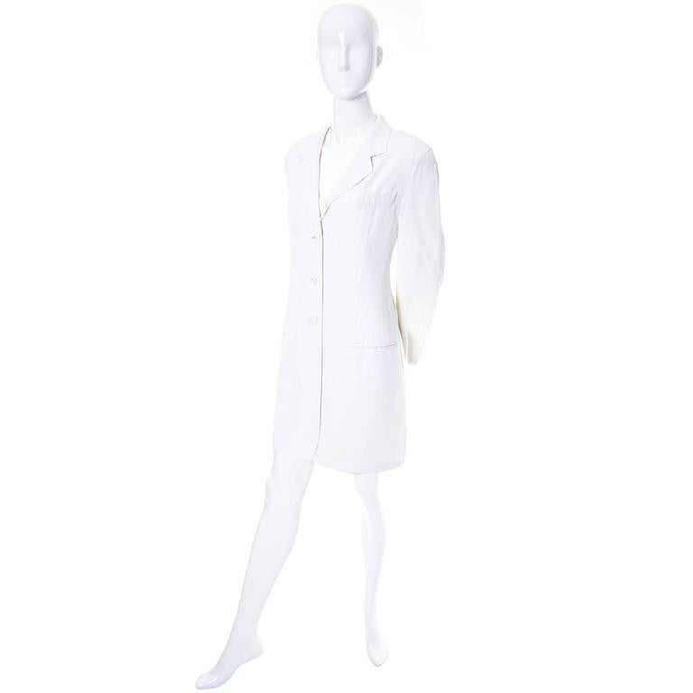 Donna Karan 1990's ensemble white linen dress and jacket