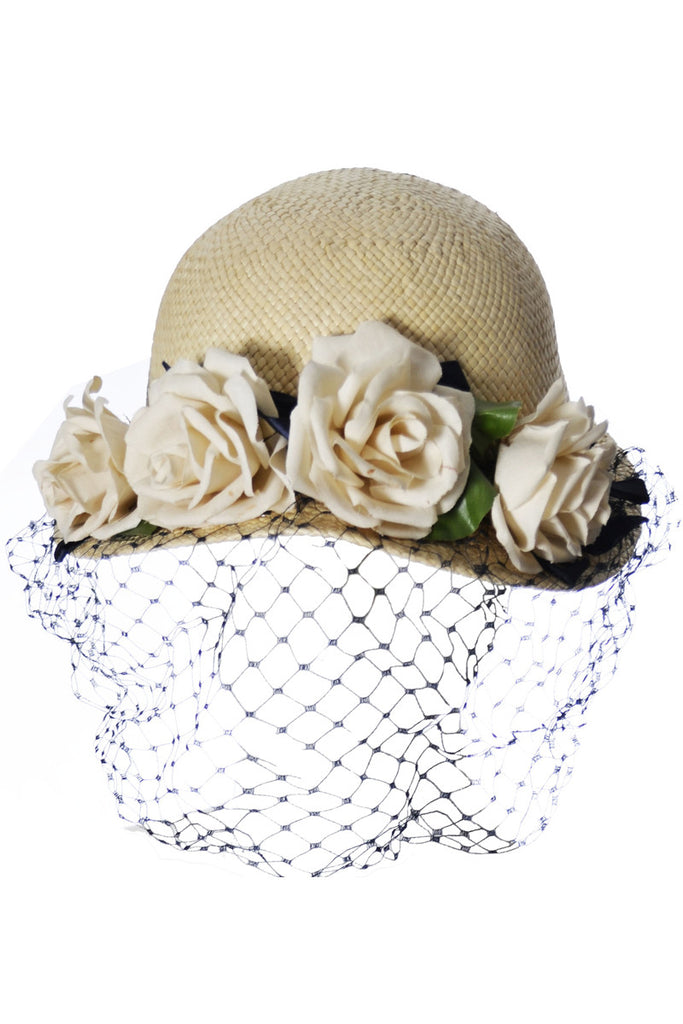 Straw sun hat with netting