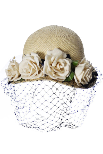 Draper Fifth Avenue Straw Vintage Hat with Roses - Dressing Vintage