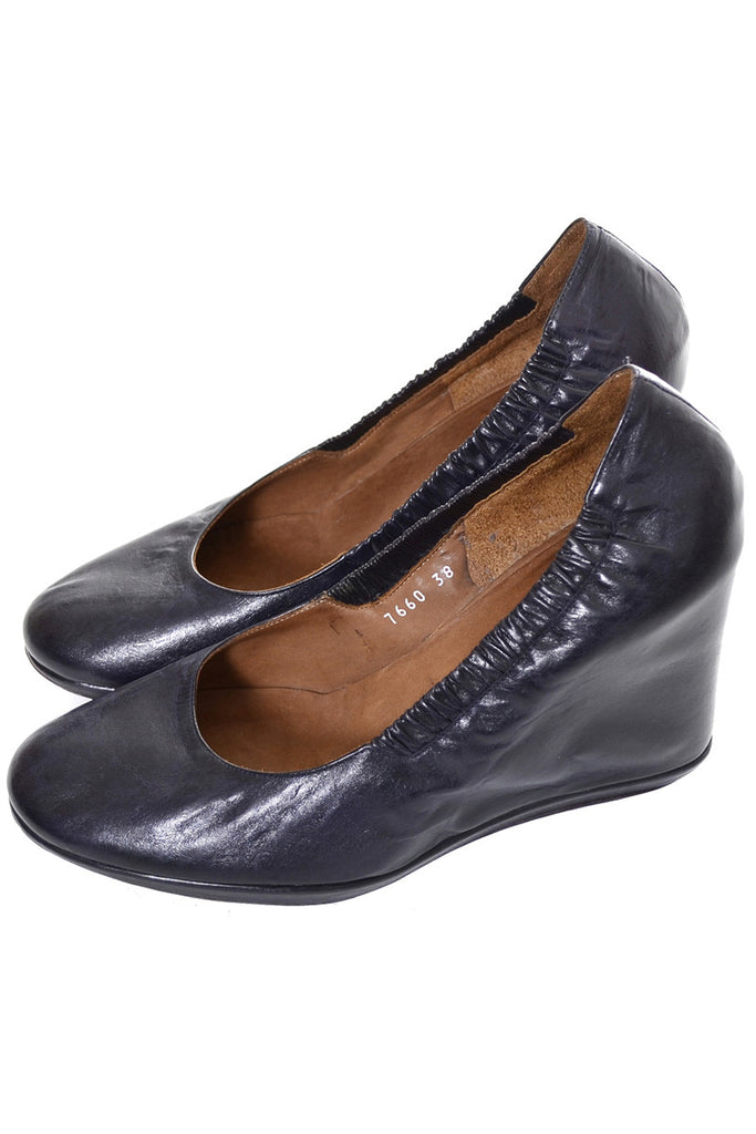 Dries Van Noten Midnight Blue Leather Wedge Pumps Covered Heels 7.5 - Dressing Vintage