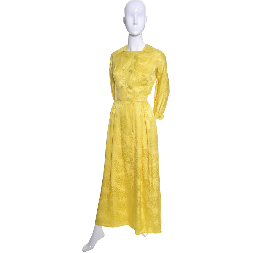 Dynasty Vintage Hostess Gown Robe Yellow Silk