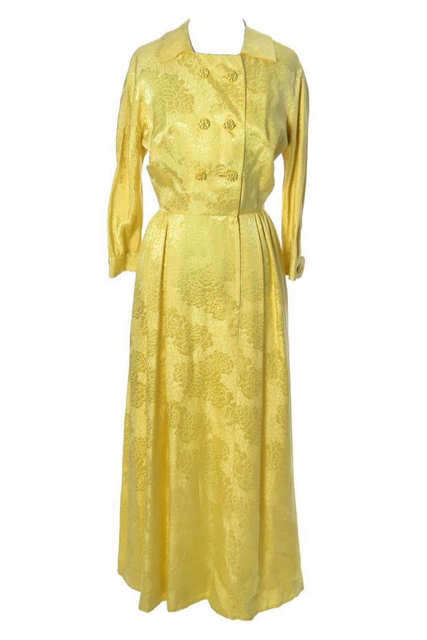 Chinese Silk Vintage Yellow Jacquard Robe or Hostess Gown Dynasty - Dressing Vintage