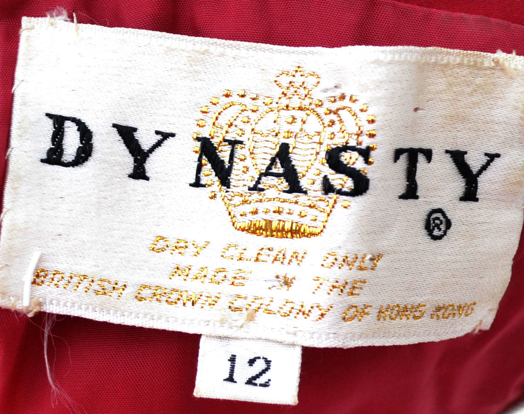 vintage red velvet Hostess robe Dynasty British royal crown colony Hong Kong