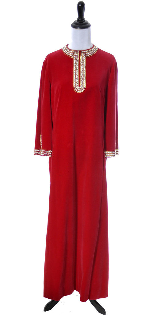 Dynasty Hong Kong vintage beaded silk velvet dress