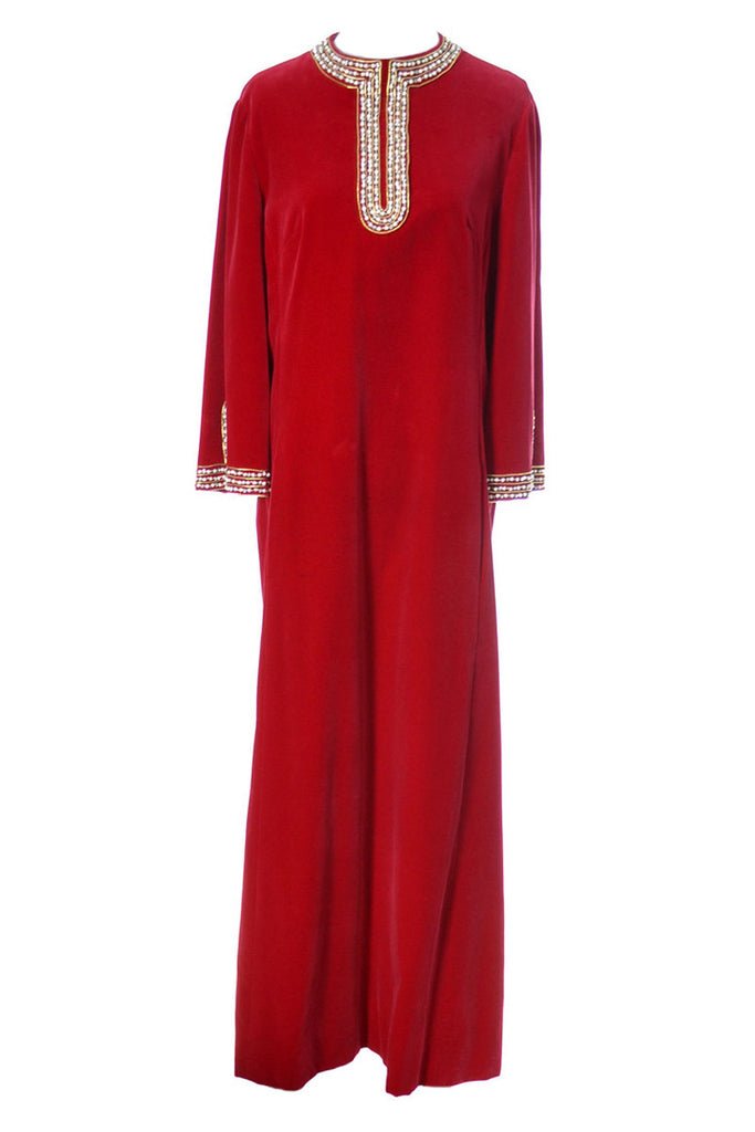 Red Silk velvet hostess gown