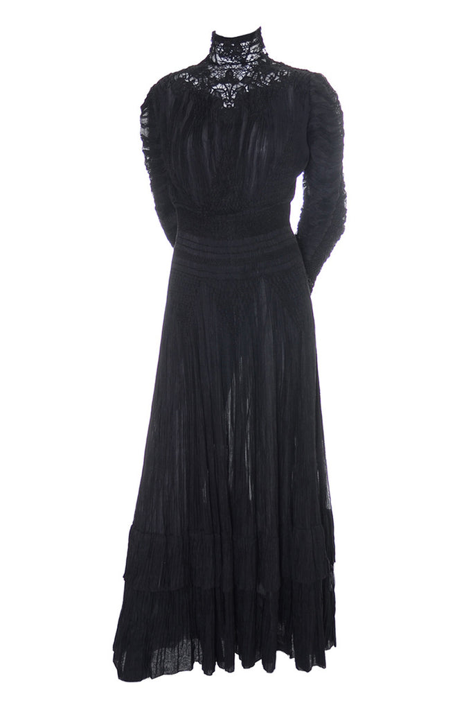 Edwardian Mourning Gown black lace high neck