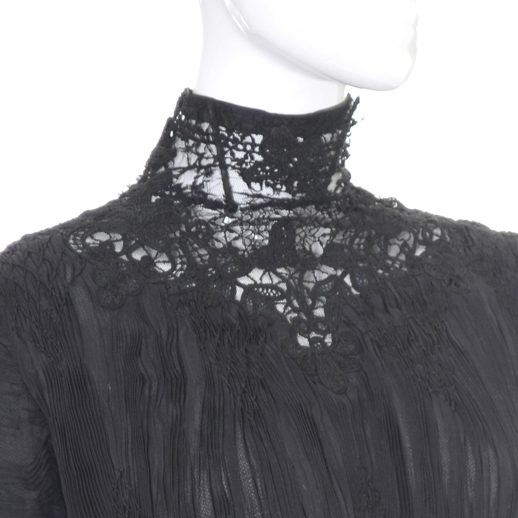 Antique Edwardian Black Lace Vintage Dress Cotton Voile
