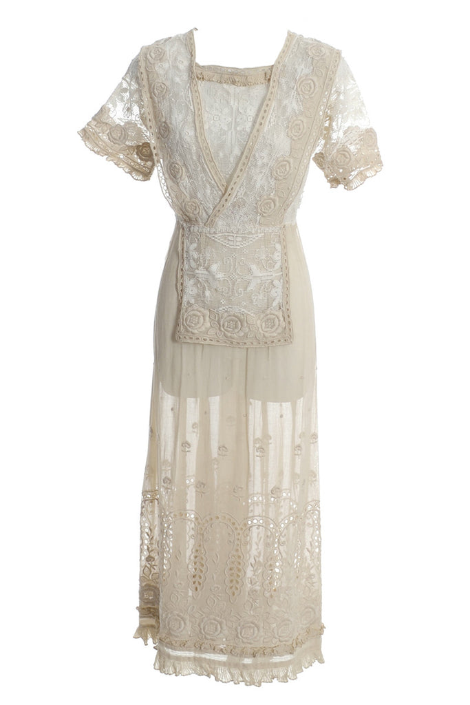 Edwardian hand embroidered cotton lace vintage dress wedding gown ...
