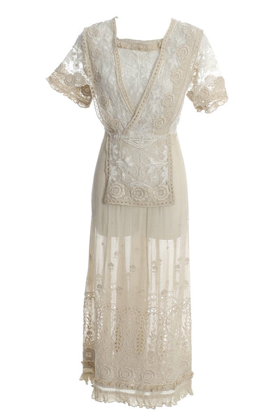 1910s Edwardian Vintage Lace Dress Fine Embroidery Roses - Dressing Vintage