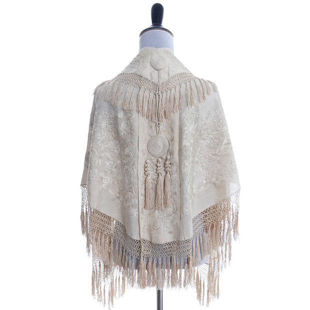 Vintage ivory wedding shawl
