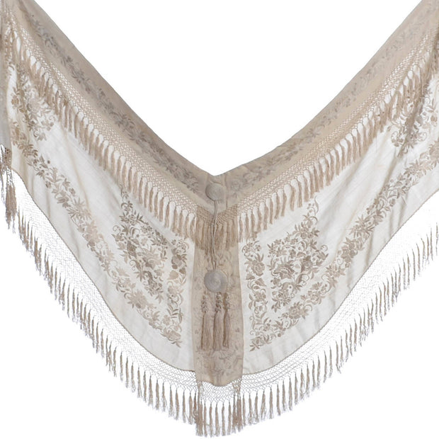 Edwardian vintage Ivory Wedding Shawl