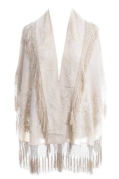 Antique Ivory Silk Tassel Cape