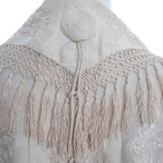 Silk embroidered tassle shawl