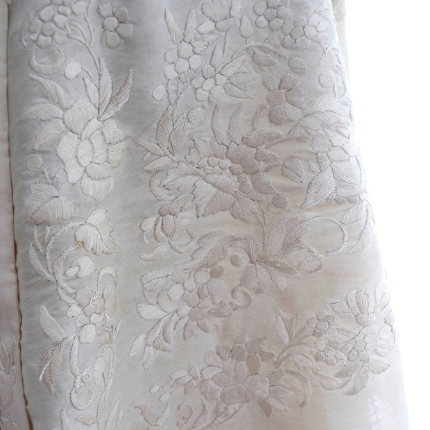 Fine Ivory Embroidery Shawl